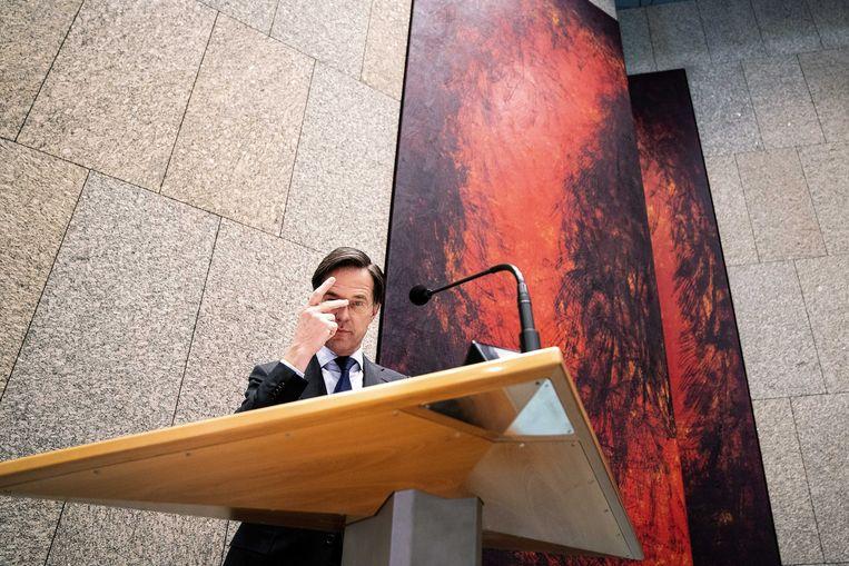 Mark Rutte (VVD) donderdag in de Tweede Kamer tijdens het debat over de mislukte formatieverkenning.  Beeld ANP