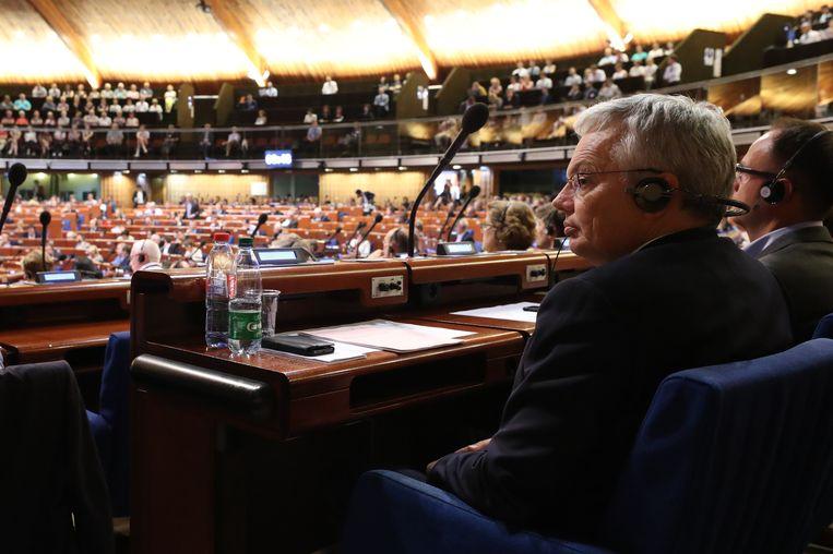 Buitenlandminister Didier Reynders (MR) vandaag in de assemblee van de Raad van Europa. Beeld BELGA