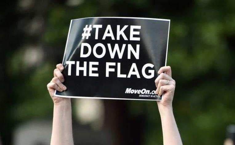 Een demonstratie in Columbia, South Carolina, waar men zich uitsprak tegen de 'confederate flag', afgelopen zaterdag. Beeld AFP