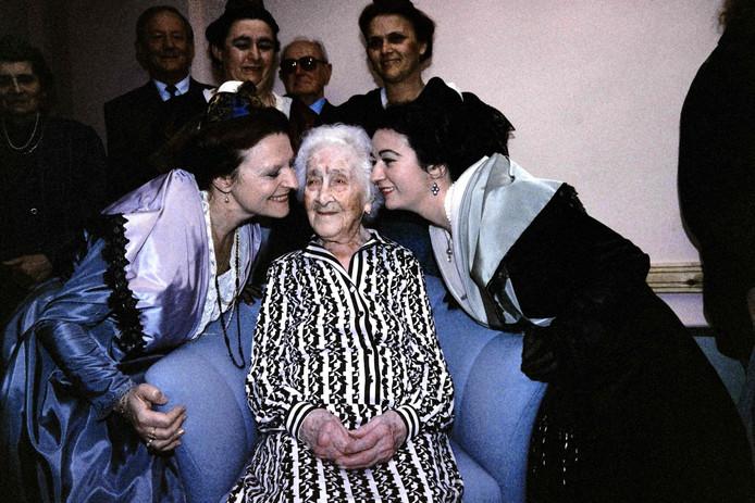Jeanne Calment op haar '114e' verjaardag