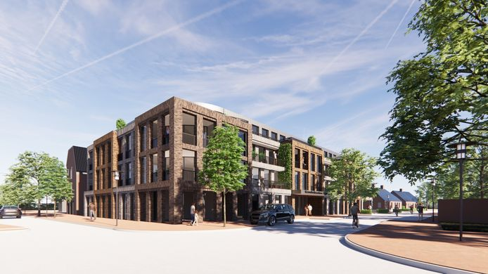 Impressie van het bouwplan voor een gezondheidscentrum en appartementen op de hoek Dorpsstraat-Kloosterstraat in Stiphout (Helmond).