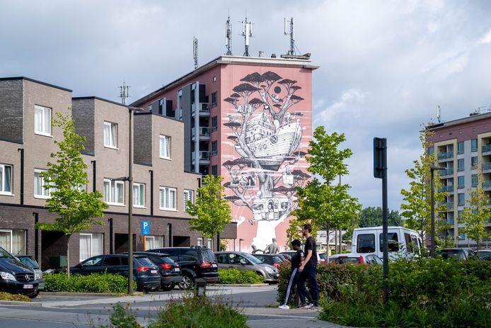 MECHELEN Het kunstwerk van Gijs Vanhee op één van de woonblokken aan het Oud Oefenplein is bijna af