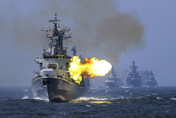 Des navires de guerre russe lors d'un exercice en Mer de Chine, en 2014 (archives).