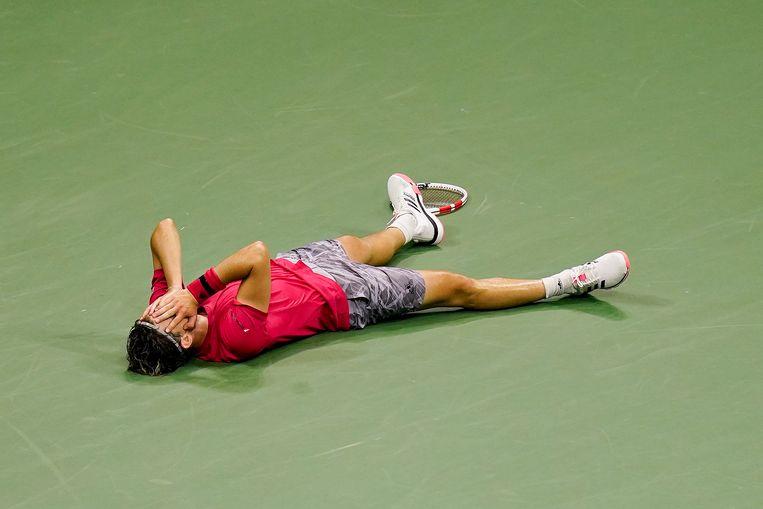 Dominic Thiem na zijn overwinning. Beeld AP