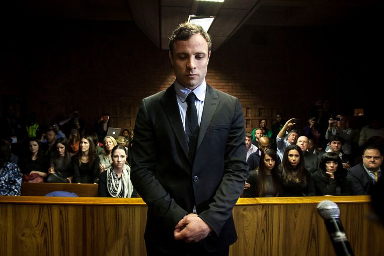 Oscar Pistorius tijdens zijn proces. Beeld EPA