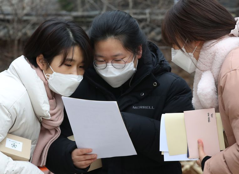 Studenten in Zuid-Korea. Beeld EPA