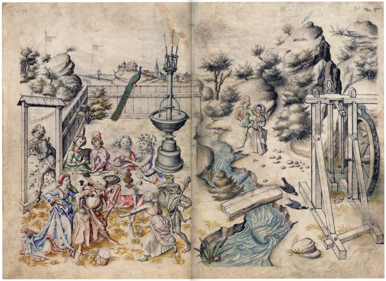 Liefdestuin, uit het 'Hausbuch von Schloss Wolfegg' (1480). Eind 15de eeuw gaat genot plots een rol spelen in de literatuur. Beeld Alamy