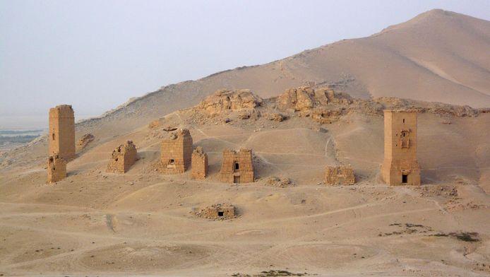 Archiefbeeld van de graftorens nabij Palmyra.