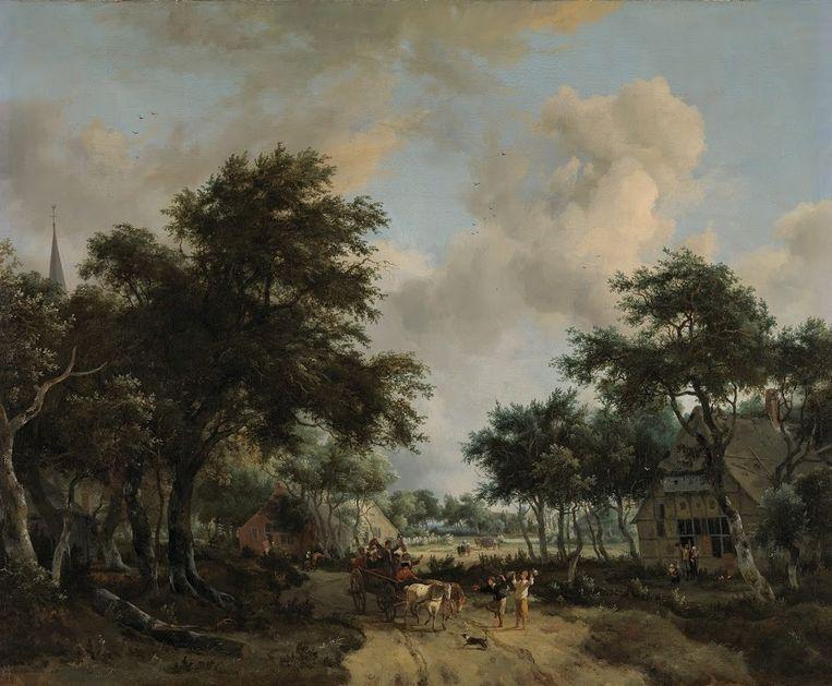 Boslandschap met een vrolijk gezelschap in een wagen. Beeld Rijksmuseum