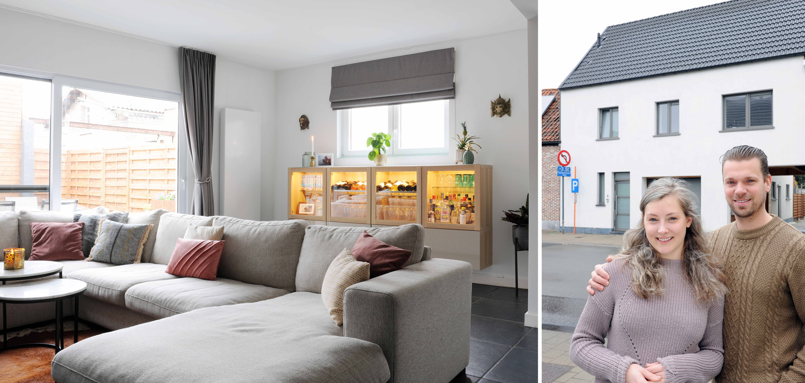 Cynthia en Sebastien voor hun huis in Overmere.