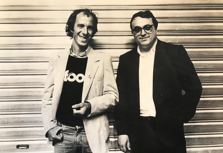 Raymond van het Groenewoud & Marc Didden op de première van Diddens film 'Brussels by Night' Beeld Humo