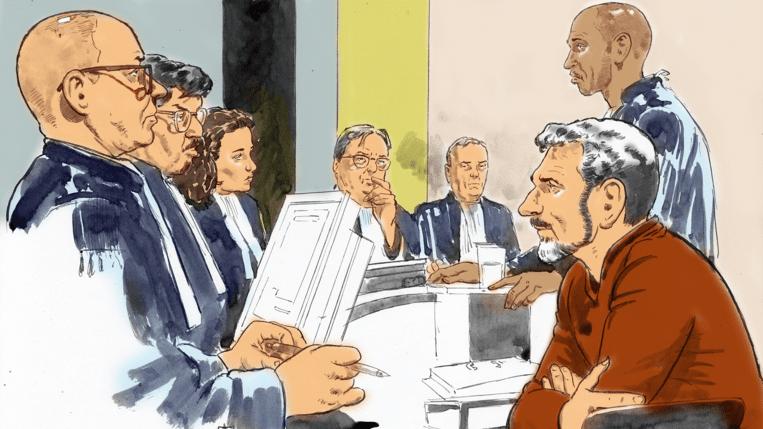 Rechtbanktekening van Jos Brech. Beeld videostill