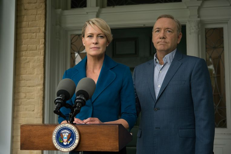 Robin Wright en Kevin Spacey in 'House of Cards'. Beeld RV David Giesbrecht/Netflix