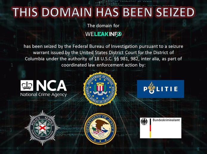 Boodschap van FBI op de website.