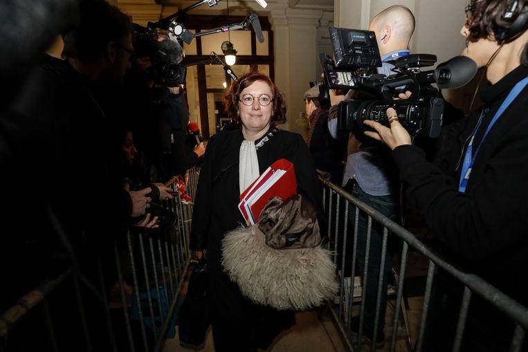 Maryse Allié, de advocate die vijf politiemensen vertegenwoordigt die deelnamen aan de huiszoeking.  Beeld BELGA