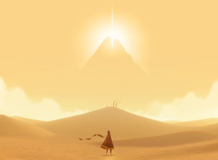 De makers van de game 'Journey' laten onder meer een vroeg prototype van de game zien op de expo. Beeld ThatGameCompany