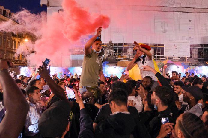 Na de wedstrijd barstte er een klein volksfeest los aan het Beursgebouw.