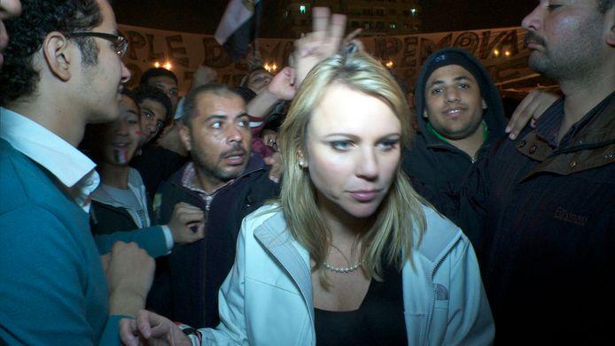 Lara Logan net voor de aanval op het Tahrirplein in Egypte.