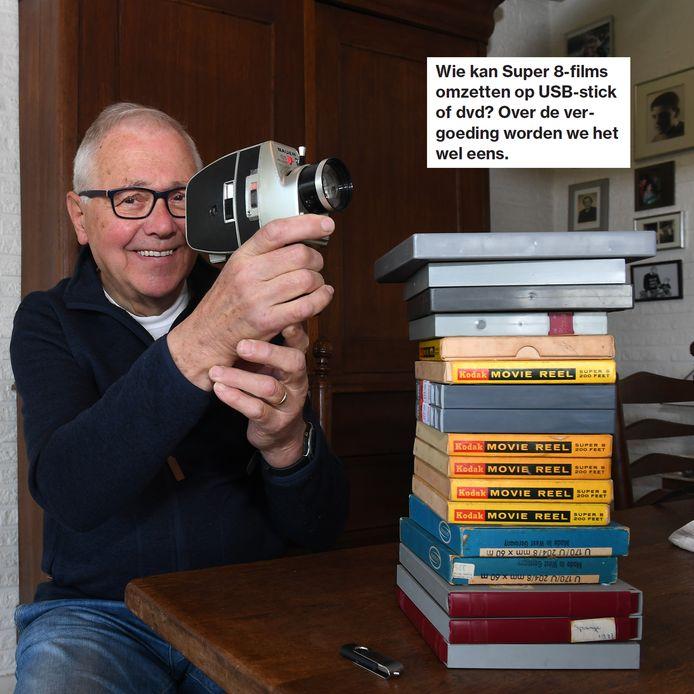 Theo Gerrits met de videobanden en zijn oproep in Lezers helpen Lezers.