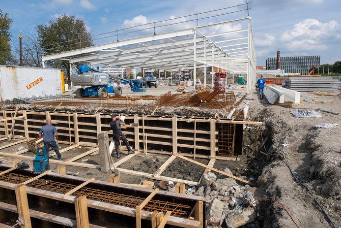 De bouw van Lidl aan de Marconistraat in Goes, eerder dit najaar. De winkel is inmiddels bijna klaar.
