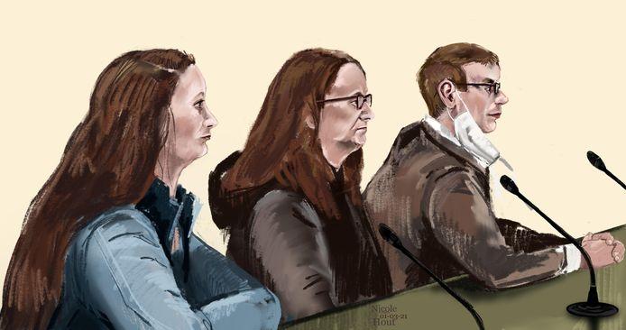Grietje (L), haar moeder Truitje R. en schutter Mark H. in de rechtbank.