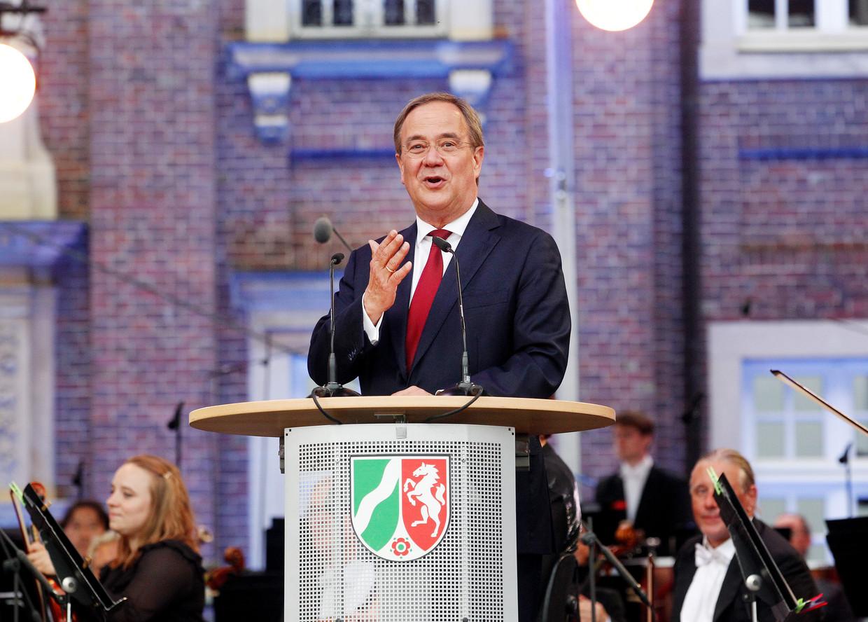 CDU-voorzitter Armin Laschet houdt een toespraak in de deelstaat Noordrijn-Westfalen. Beeld Roland Weihrauch/dpa