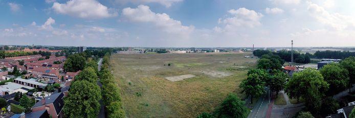 Het voormalige Philipsterrein in Roosendaal in de zomer van 2020 toen er nog niet werd geheid. De mensen rond het terrein worden er nu horendol van.