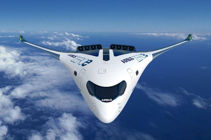 Airbus wil vanaf 2035 vliegtuigen op waterstof leveren. Die toestellen stoten geen CO2 meer uit, alleen waterdamp. Een van de concepten is een 'blended wing',  waarbij vleugels en cabine een geheel vormen.