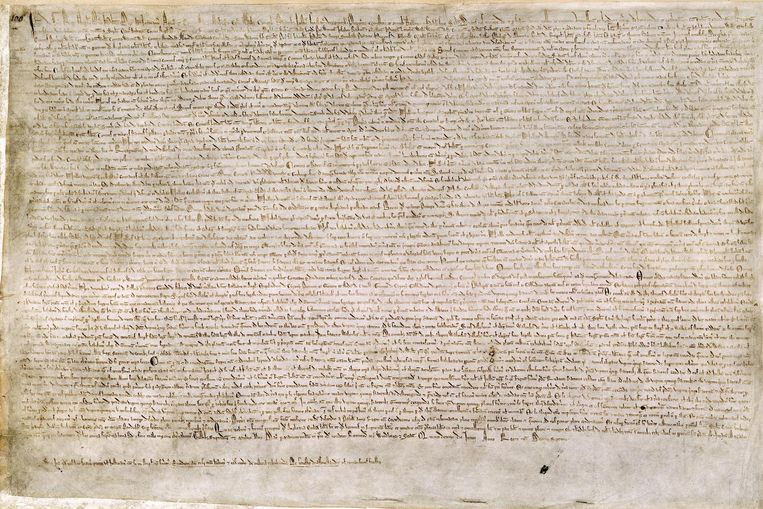 De Magna Carta Beeld British Library Cotton MS Augustus II.106. Wikimedia Commons