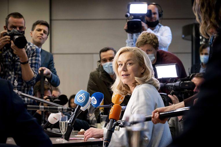 'Het probleem van Kaag is dat haar eigen magnifieke overwinning ten koste gaat van de SP, GroenLinks en PvdA.'   Beeld EPA