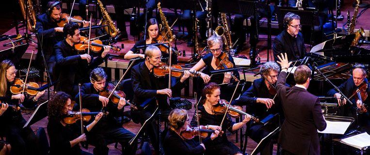 Het Metropole Orkest in actie tijdens een optreden in Muziekgebouw 't IJ. Beeld anp
