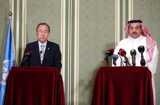Le Qatar est l'un des principaux parrains du Hamas (photo: Ban Ki-moon et le ministre des Affaires étrangères du Qatar)