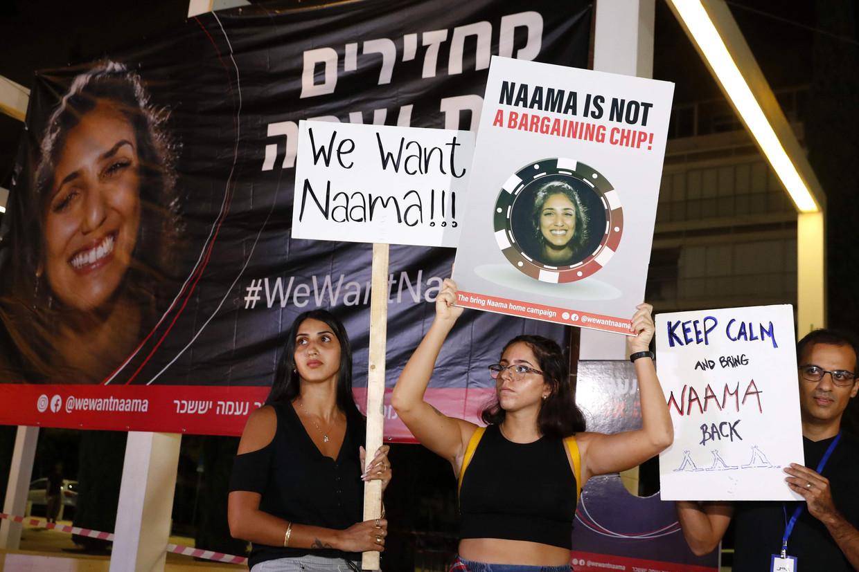Israëliërs demonstreren in Tel Aviv voor de vrijlating van Naama Issachar.  Beeld AFP