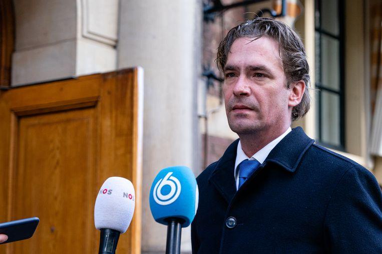 Staatssecretaris van Sociale Zaken en Werkgelegenheid Bas van 't Wout vorige week op het Binnenhof voorafgaand aan een corona-overleg. Beeld BSR Agency