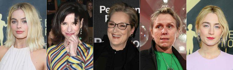 Margot Robbie, Sally Hawkins, Meryl Streep, Frances McDormand en Saoirse Ronan.