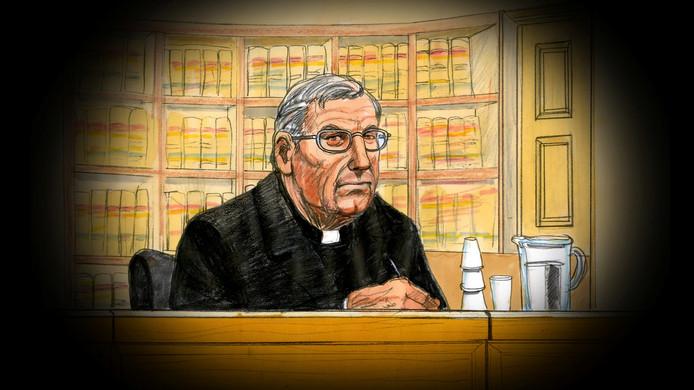 Een rechtbankschets van voormalig kardinaal George Pell.
