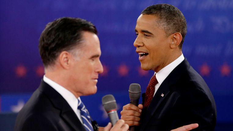 Obama en Romney tijdens een debat. Beeld AP