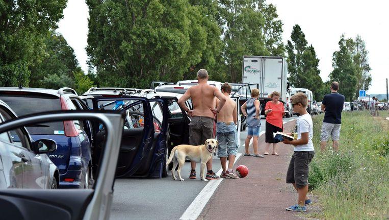 Automobilisten stonden in een ellendig lange file nadat Franse boeren de snelwegen blokkeerden. Beeld afp