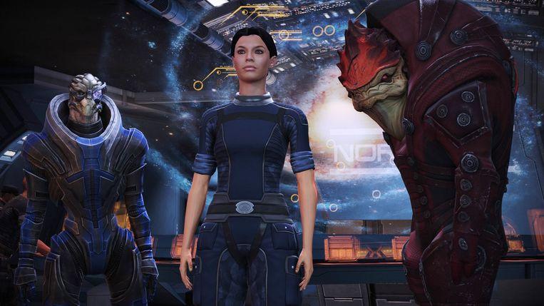 In Mass Effect is het weer eens hommeles in het heelal en trekt de mens samen met aliens op tegen een gezamenlijke vijand. Beeld BioWare