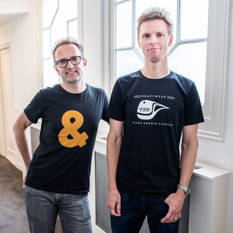 Oprichters Floris Klinkert en Frederik Slijkerman: 'Voor een deel bestaat succes uit: gewoon rustig blijven doorwerken.' Beeld Simon Lenskens