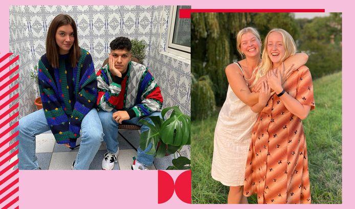 Links: Emilie Nagels (25) en Faisal Chatar (29) van 17.Vintage.  Rechts: Anneke Verheyen (24) en Lynn Gabriëls (23) van bekanst verniet.