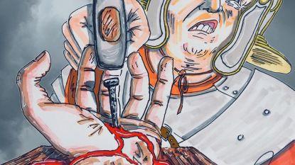 Jim Carrey maakt ophefmakend schilderij: Donald Trump nagelt Jesus aan het kruis
