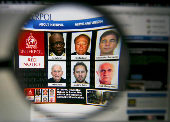 Alejandro Burzaco rechtsbovenin op de site van Interpol.