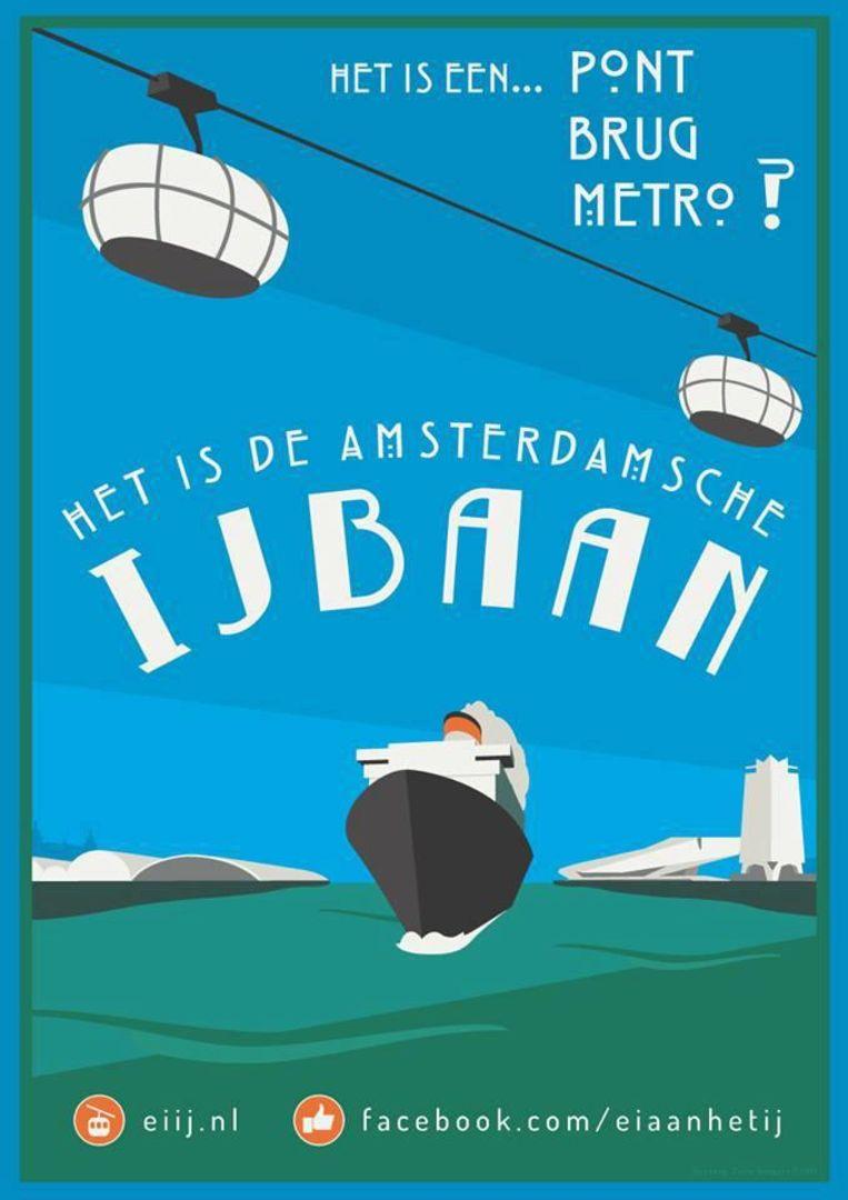 De poster voor de crowdfundcampagne van stichting IJbaan. Beeld Carlo Bongers
