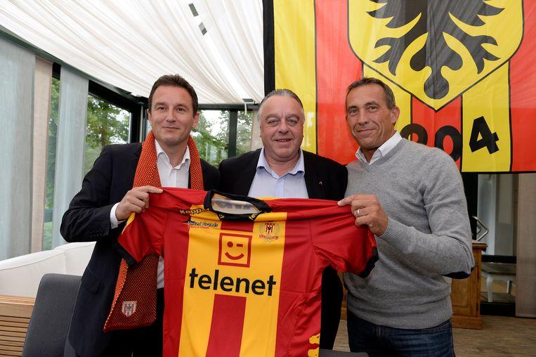 Jankovic in mei 2014 met voorzitter Timmermans en Philippe Vandewalle, toen hij voor het eerst in Mechelen aan de slag ging.