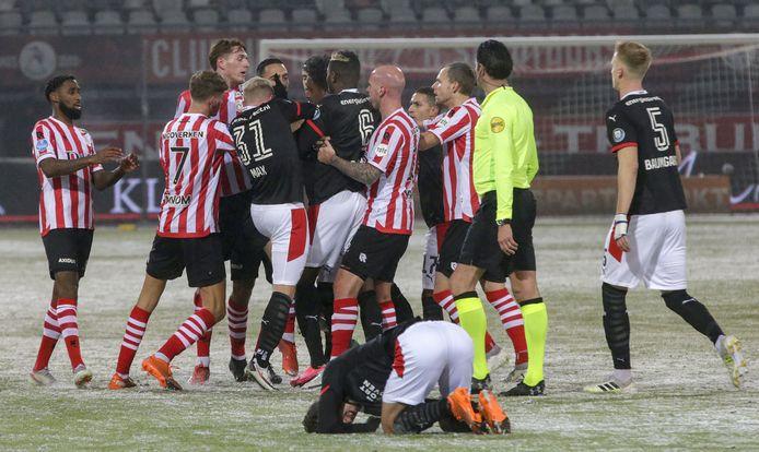 Een opstootje tijdens Sparta-PSV.