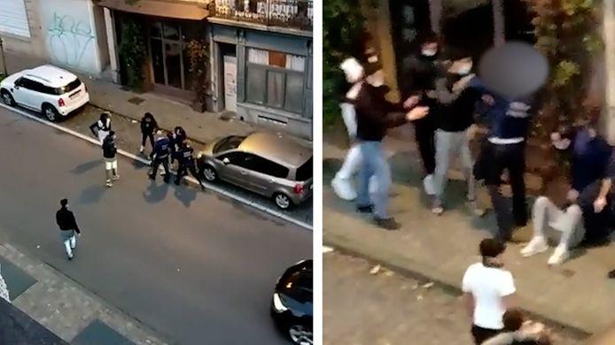 Agenten in Elsene worden aangevallen - screenshots