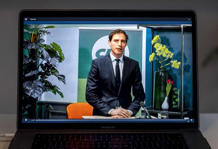 Wopke Hoekstra tijdens de voortzetting van het digitale CDA-verkiezingscongres. Beeld ANP