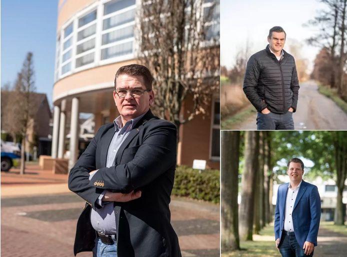 De komende wethouder van Wierden: Hans ter Keurst (links). Daarnaast de vertrokken Eric Braamhaar (rechtsboven) en diens tijdelijk vervanger Jeffrey Rouwenhorst (rechtsonder).