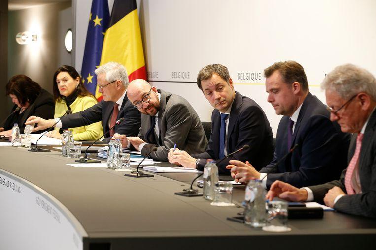 De regering-Michel op een persconferentie vorige maand. Beeld BELGA